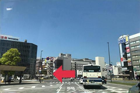 大分駅前を左へ(別府方面へ)