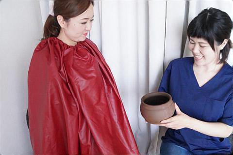 よもぎ蒸し後の壺の確認と妊活についてのお話
